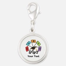 Customize Guard Grad Flags Silver Round Charm