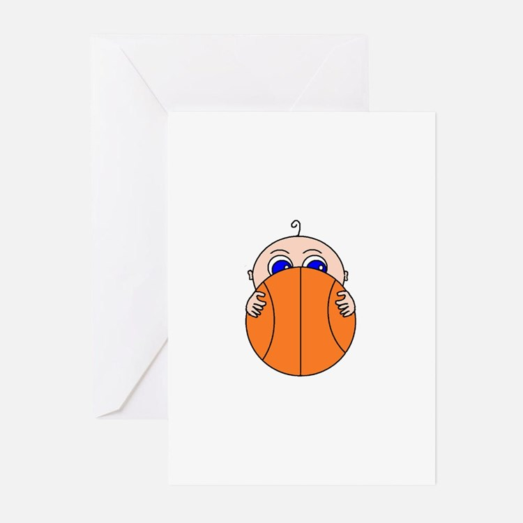 Baby Peeking Basketball Greeting Cards