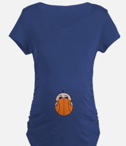 Baby Peeking Basketball Maternity T-Shirt