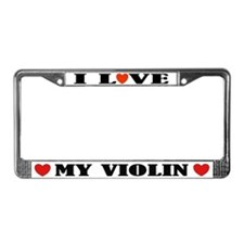 I Love My Violin License Plate Frame
