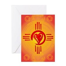 DESERT SUNSET ZIA LOVE Greeting Cards