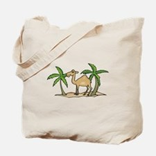 Cute Camel and Palm Trees Design Tote Bag