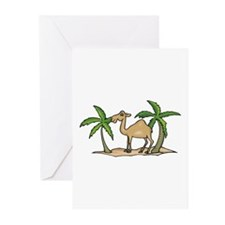 Cute Camel and Palm Trees Design Greeting Cards (P