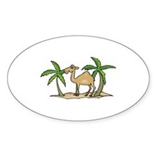 Cute Camel and Palm Trees Design Oval Decal