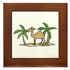 Cute Camel and Palm Trees Design Framed Tile