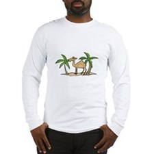 Cute Camel and Palm Trees Design Long Sleeve T-Shi