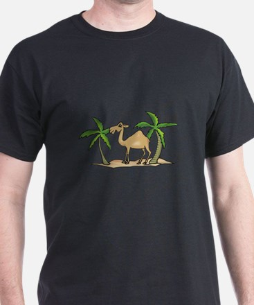 Cute Camel and Palm Trees Design T-Shirt