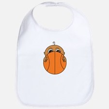 Baby Peeking Basketball (Dark Skin) Bib