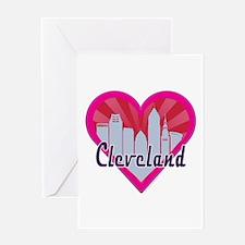 Cleveland Skyline Sunburst Heart Greeting Cards