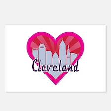 Cleveland Skyline Sunburst Heart Postcards (Packag