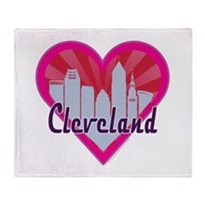 Cleveland Skyline Sunburst Heart Throw Blanket