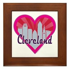Cleveland Skyline Sunburst Heart Framed Tile