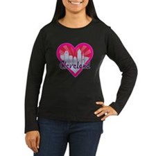 Cleveland Skyline Sunburst Heart Long Sleeve T-Shi