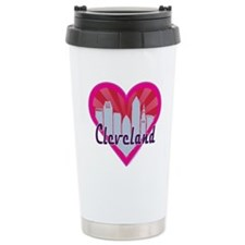Cleveland Skyline Sunburst Heart Travel Mug