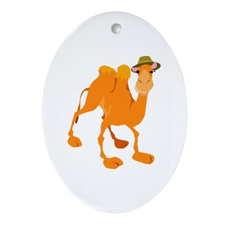 Funny Camel Wearing Hat Oval Ornament