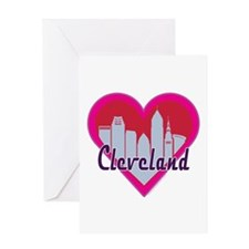 Cleveland Skyline Heart Greeting Cards