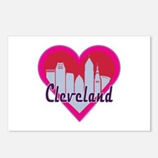 Cleveland Skyline Heart Postcards (Package of 8)