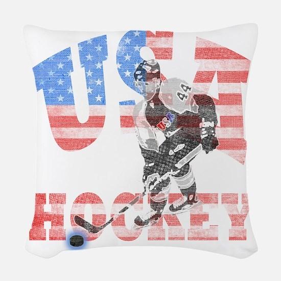 USA hockey Woven Throw Pillow