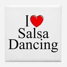 """I Love (Heart) Salsa Dancing"" Tile Coaster"