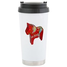 Left facing Red Dala Horse Travel Mug