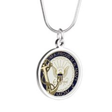 I'm A Proud Navy Mom Silver Round Necklace
