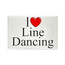 """I Love (Heart) Line Dancing"" Rectangle Magnet"
