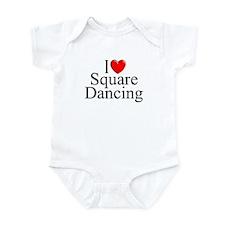 """I Love (Heart) Square Dancing"" Infant Bodysuit"
