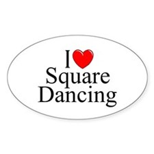 """I Love (Heart) Square Dancing"" Oval Decal"