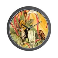 Bees at Red Flowers Wall Clock