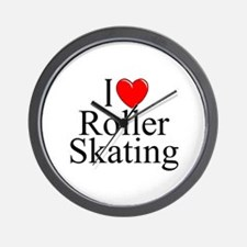 """""""I Love (Heart) Roller Skating"""" Wall Clock"""
