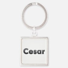 Cesar Metal Square Keychain