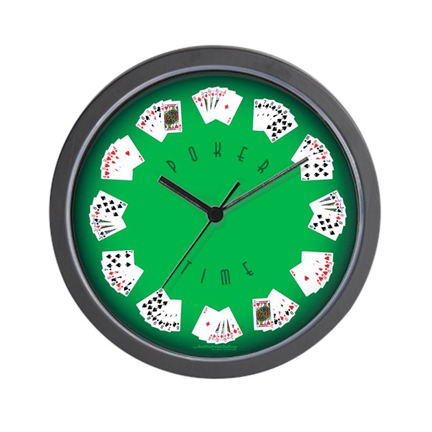 Poker time felt green wall clock by redhotpokerstuf for Green wall clocks uk
