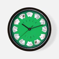 Poker Time felt green wall clock