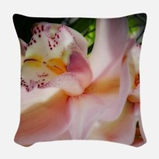 Pink orchid Woven Throw Pillow