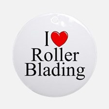 """I Love (Heart) Roller Blading"" Ornament (Round)"