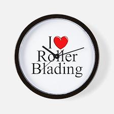 """""""I Love (Heart) Roller Blading"""" Wall Clock"""