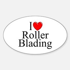 """""""I Love (Heart) Roller Blading"""" Oval Decal"""