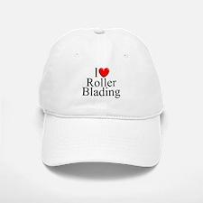"""""""I Love (Heart) Roller Blading"""" Baseball Baseball Cap"""
