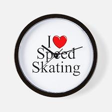 """""""I Love (Heart) Speed Skating"""" Wall Clock"""