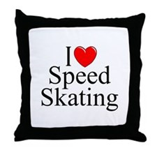 """I Love (Heart) Speed Skating"" Throw Pillow"