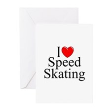 """I Love (Heart) Speed Skating"" Greeting Cards (Pk"