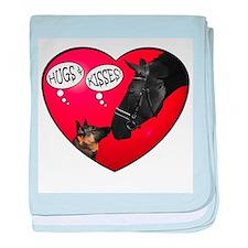 love kisses dog horse baby blanket