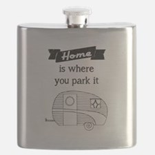 Vintage Trailer - Home is where you park it Flask