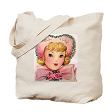 Vintage Pink Bonnet Girl Tote Bag
