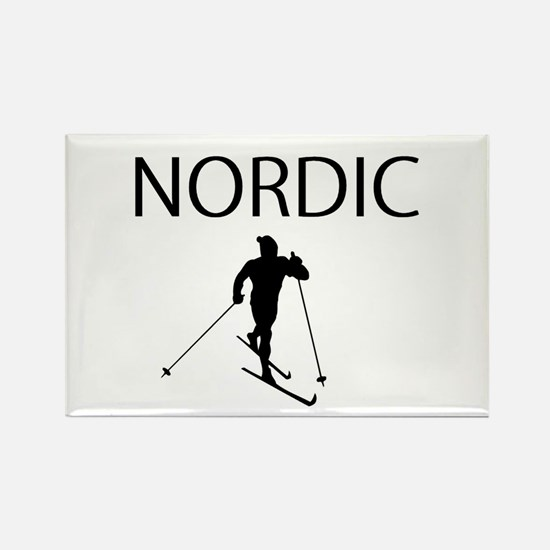 Nordic Ski Rectangle Magnet