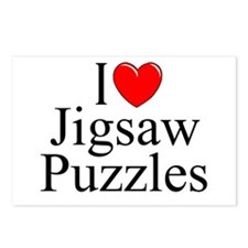 """I Love (Heart) Jigsaw Puzzles"" Postcards (Package"