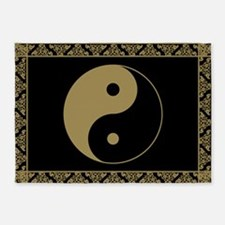 Gold Yin and Yang Symbol 5'x7'Area Rug