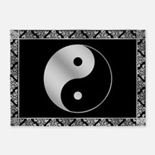 Silver Yin and Yang Symbol 5'x7'Area Rug