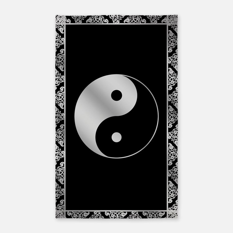Silver Yin and Yang Symbol 3'x5' Area Rug