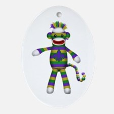 Mardi Gras Sock Monkey Ornament (Oval)